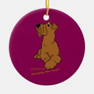 Irish Terrier - Simply the best! Round Ceramic Decoration