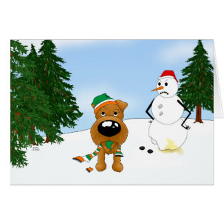 Irish Terrier Winter Scene Greeting Card