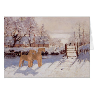Irish Terriers in Winter Card