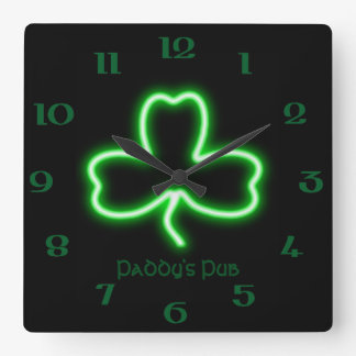 Irish themed Shamrock personalised Pub neon sign Square Wall Clock