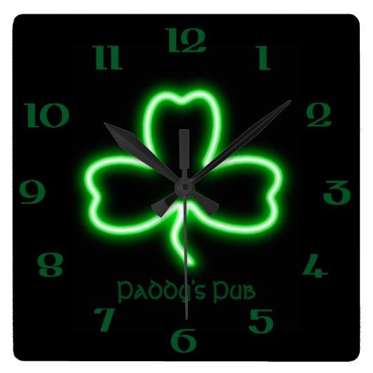Irish themed Shamrock personalised Pub neon sign Square