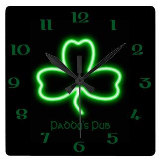 Irish themed Shamrock personalised Pub neon sign Wall Clock