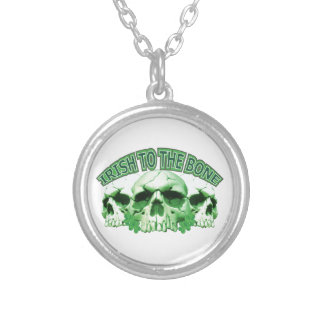 Irish to the Bone Skull Silver Plated Necklace