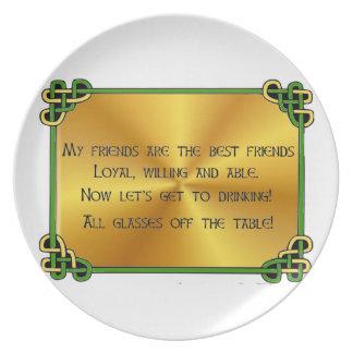 Irish Toast My friends are the best Dinner Plate