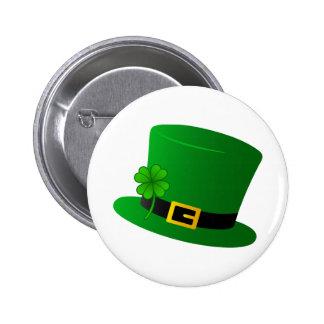 Irish Top Hat with Shamrock 6 Cm Round Badge