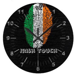 Irish touch fingerprint flag large clock