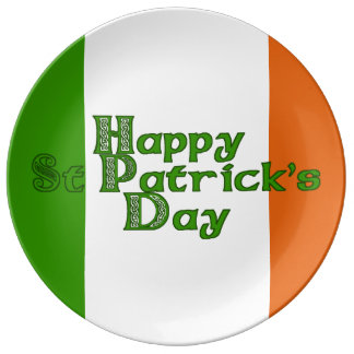 Irish Tricolor St Patrick's Day Porcelain Plates