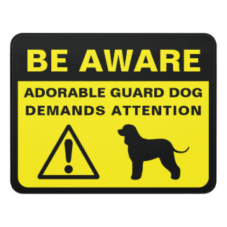 Irish Water Spaniel Funny Guard Dog Warning Door Sign