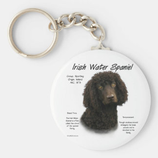 Irish Water Spaniel History Design Basic Round Button Key Ring