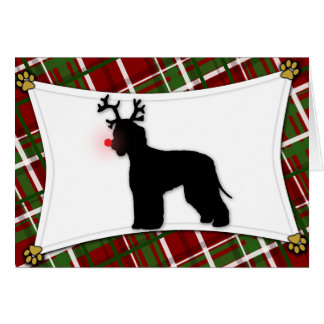 Irish Water Spaniel Reindeer Christmas Card