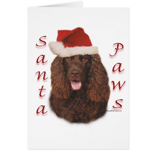 Irish Water Spaniel Santa Paws Greeting Card