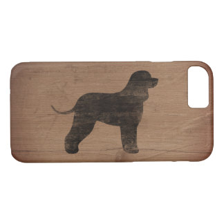 Irish Water Spaniel Silhouette Rustic iPhone 8/7 Case