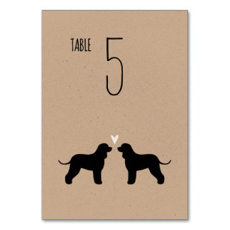 Irish Water Spaniel Silhouettes Wedding Table Card