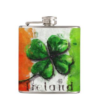 Irish Watercolor Ireland Clover/Flag Flasks