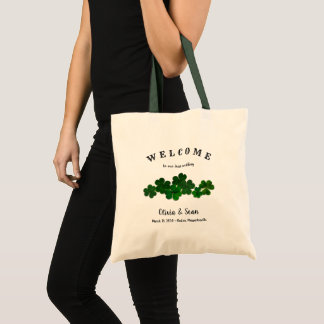 Irish Wedding Custom Welcome Bag Green Clovers