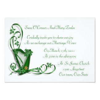 "Irish Wedding invitation Harp shamrocks and ribbon 5"" X 7"" Invitation Card"