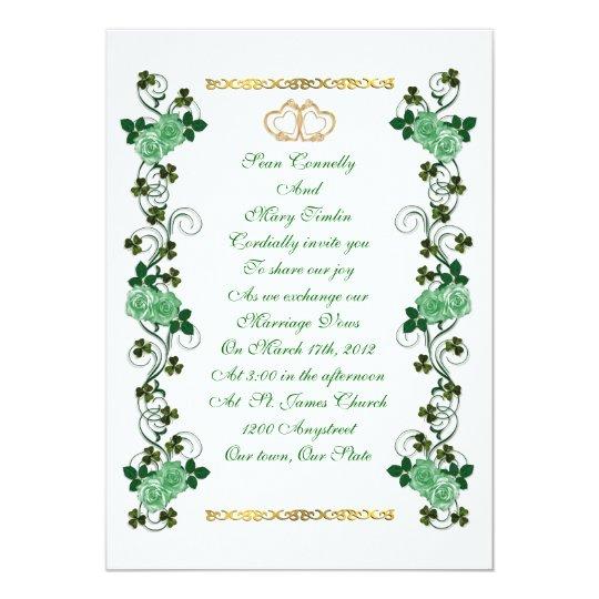 Irish Wedding invitation shamrocks and green roses