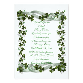 Irish Wedding invitation shamrocks and ribbon