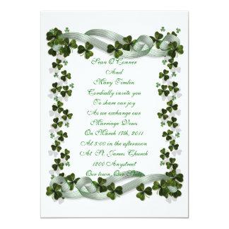 """Irish Wedding invitation shamrocks and ribbon 5"""" X 7"""" Invitation Card"""