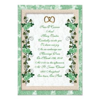 Irish Wedding invitation shamrocks and roses