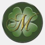 Irish Wedding Monogram M Envelope Seal Round Sticker