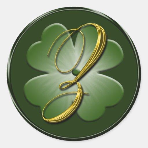 Irish Wedding Monogram Z Envelope Seal Round Sticker