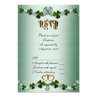 Irish wedding RSVP shamrocks 9 Cm X 13 Cm Invitation Card