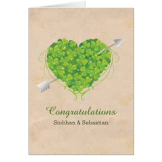 Irish Wedding Shamrock Heart Card