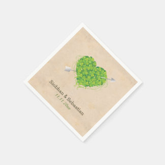 Irish Wedding Shamrock Heart Paper Napkins