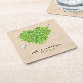 Irish Wedding Shamrock Heart Square Paper Coaster