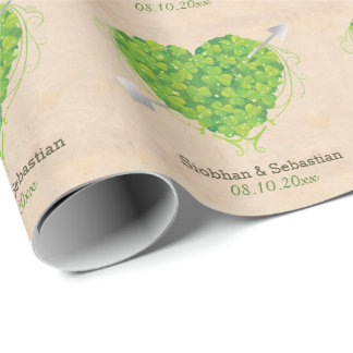 Irish Wedding Shamrock Heart Wrapping Paper