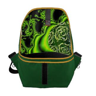 Irish Whirl - Abstract Emerald Dance Messenger Bags