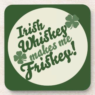 Irish Whiskey makes me friskey Drink Coaster