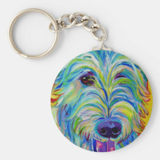 Irish Wolfhound #1 Basic Round Button Key Ring