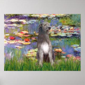 Irish Wolfhound 1 - Lilies 2 Poster