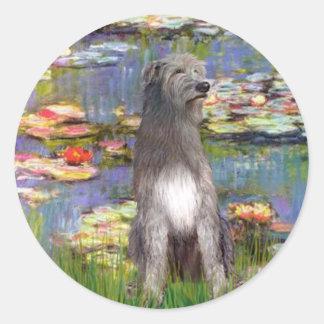 Irish WOlfhound 1 - Lilies 2 Round Sticker