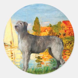 Irish Wolfhound 2 - Sailboats 2 Round Sticker