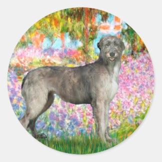 Irish Wolfhound 3 - Garden Round Sticker