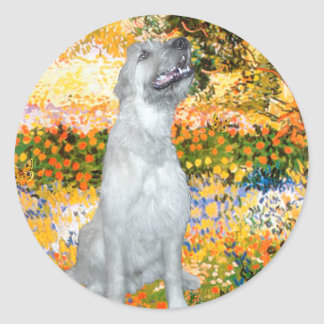 Irish Wolfhound 4 - Garden (VG) Round Sticker