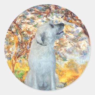 Irish Wolfhound 4 - Spring Round Sticker