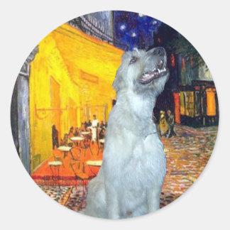 Irish Wolfhound 4 - Terrace Cafe Round Sticker