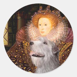 Irish Wolfhound 6 - Queen Round Sticker