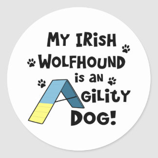 Irish Wolfhound Agility Dog Round Sticker