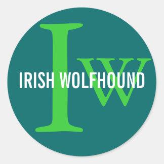 Irish Wolfhound Breed Monogram Round Sticker