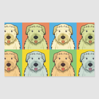 Irish Wolfhound Cartoon Pop-Art Rectangle Sticker