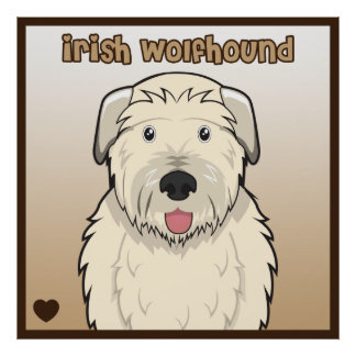 Irish Wolfhound Cartoon Poster