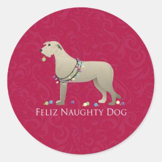Irish Wolfhound Christmas Design Round Sticker
