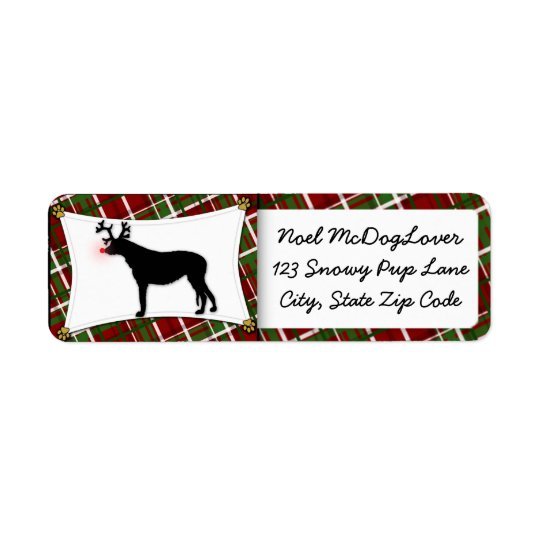 Irish Wolfhound Christmas Return Address Label