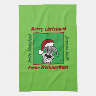 Irish Wolfhound Christmas Tea Towel