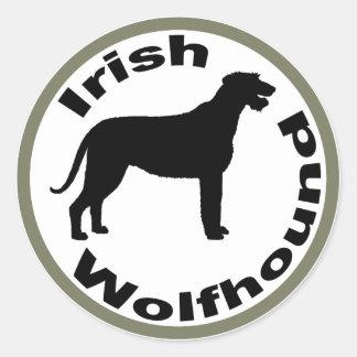 Irish Wolfhound Circle Border Round Sticker